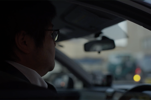 Man driving taxi