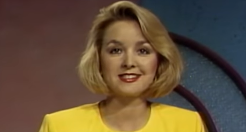 Jodi, a young blonde woman, at a news desk