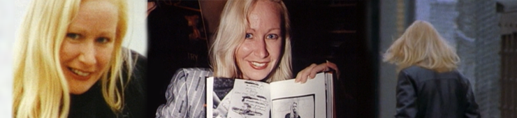 Blonde woman smiling, blonde woman holding a book, back of blonde woman's head