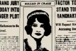 An article from an old newspaper, there is a darwing of Mary underneath the words 'Killed in Crash'