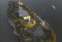 An aerial photo of Alcatraz Island.