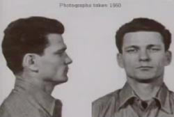 A mug photo of Frank Morris, profile and full face, under the text 'Photograph taken 1950'