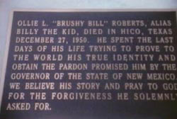 A plaque dedicated to Brushy Bill.