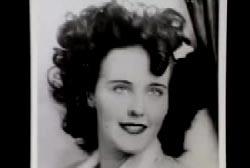 Black and white headshot of Elizabeth Short, aka the Black Dahlia