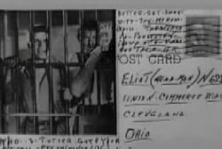 A postcard sent to Ness with a picture of men behind jail bars.