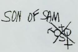 Son of Sam is spelled out and there is a symbol, it is an 'X' with a cross, the symbols for male and female and an 's'