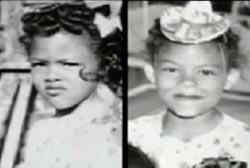 Two childhood photos of the same girl. She is wearing her hair in tight curls and a white dress.