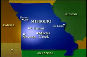 A map of Missouri highlighting the locations of three cities: Clinton, Macks Creek, and Nevada.