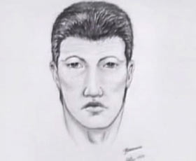 A police sketch of a possible male suspect.