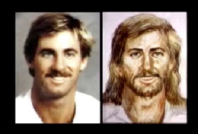 A photo and a hand drawn portrait of Gordon Collins, he is a middle aged caucasian man with blonde hair and a mustache.