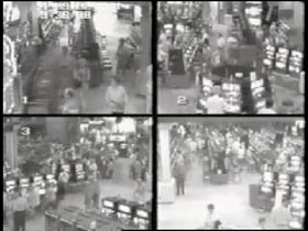 Four images from a casino security footage.