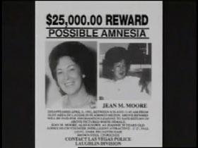 A missing poster for Jean Moore with the text '$25,000 Reward, Possible Amnesia'
