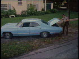 A light blue sedan is parked on the grass next to a sidewalk, a police office is opening the truck.