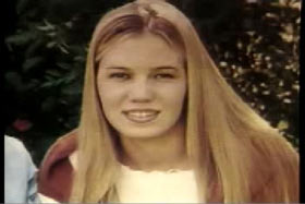 A young caucasian woman with long blonde hair, Kristin Smart.