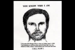 A wanted poster that includes the police sketch of the possible suspect.