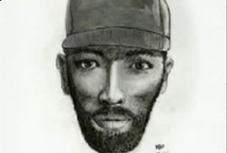 Composite sketch of an african american male with a beard and wearing a hat