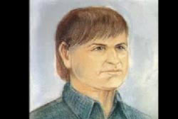 A colored composite of the suspect, he is a caucasian man with short brown hair.