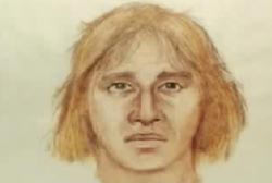 A police composite of the suspect on the motorcycle, a caucasian man with shaggy blonde hair.