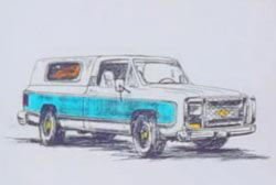 A hand drawing of the vehicle of a potential suspect.