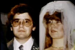 John and Linda Sohus in wedding dress on the day of their marriage