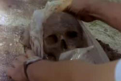 Man taking a human skull out of a plastic bag