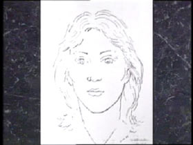 Police sketch of a caucasian woman with light features