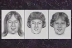 Three police sketches of Little Miss 'P'. One with long hair, one with Medium hair with bangs, and one with hair parted down the middle