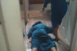 Mom stubbling upon the collapsed body of Geri outside a bedroom