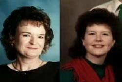Left: smiling Mary Lou Morris, Right: Smiling Mary McGinnis Morris