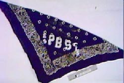 A blue bandana with the letters e s p b s painted on