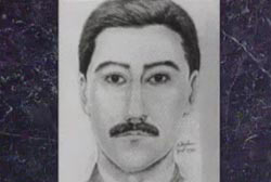A police sketch of a caucasian man with dark hair, eyes, and a mustache