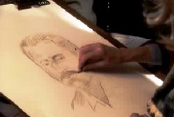 A police sketch artist drawing a composite sketch of the supsect