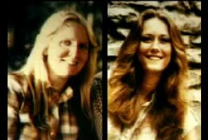 Left: Bobbie Jo Oberholzer with long blond hair, Right: Annette Kay Scnee with long brown hair
