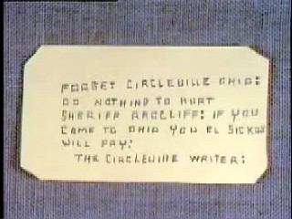 Letter received by Unsolved Mysteries that reads 'Forget Circleville, Ohio... if you come to Ohio, you el sickos will pay.'