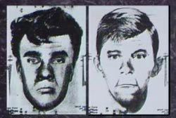 Police composite sketches of teo caucasian suspects with long faces and dark hair