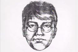 A police sketch of an asian man with wire framed glasses