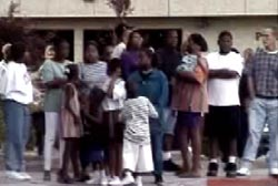 A large gathering of Tupac's fans outside the hospital