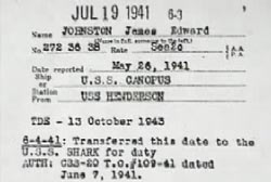 A military transfer document saying that James Edward Johnston will be transfered to the U.S.S. SHARK