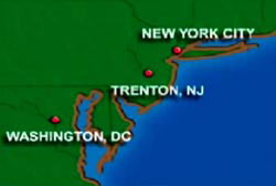 A map of the east coast with points of interest on New York City, Trenton, NJ, and Washington, DC