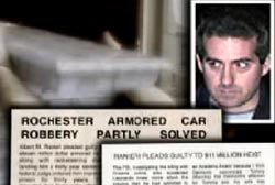 Albert Renieri next to a news article that reads 'Rochester Armored Car Robbery Partly Solved