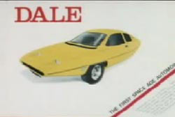 An advertisment for a space age car called the DALE
