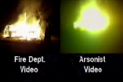 Left: Fire Department video of house on fire, Right: Arsonist's video of house on fire