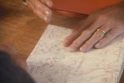 A hand over a map detailing where to find the gold ore