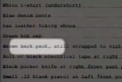 A paper that highlights the writing 'Brown back pack'