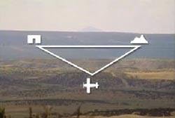 A diagram that forms a triangle of land with the corner being a mountain, an airplane, and a house