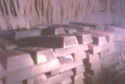 Thousands of bars of gold in a cavern