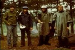 Jack Weiner, Jim Weiner, Chuck Rak, and Charlie Foltz standing in a row in the Allagash wilderness