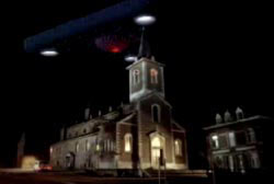 The triangular UFO hovering over the church of a small town