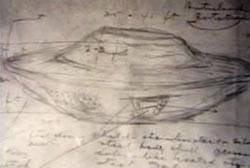Michalak's sketched diagram of the disk shaped UFO
