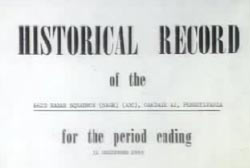 Air force report that reads 'Historical Record of the - for the period ending - '